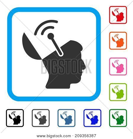 Open Brain Radio Interface icon. Flat gray pictogram symbol in a light blue rounded rectangular frame. Black, gray, green, blue, red, orange color variants of Open Brain Radio Interface vector.