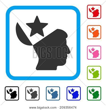 Open Head Star icon. Flat grey iconic symbol inside a light blue rounded rectangular frame. Black, gray, green, blue, red, orange color variants of Open Head Star vector.