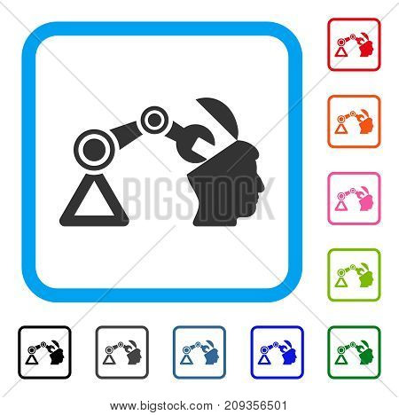 Open Head Surgery Manipulator icon. Flat gray pictogram symbol in a light blue rounded squared frame. Black, gray, green, blue, red,