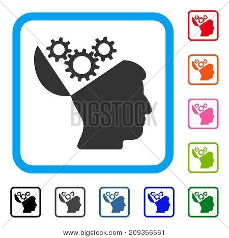 Open Mind Gears icon. Flat gray iconic symbol inside a light blue rounded rectangle. Black, gray, green, blue, red, orange color variants of Open Mind Gears vector.