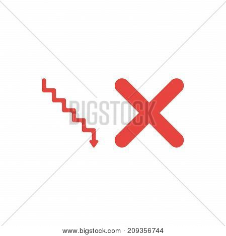 Flat Design Style Vector Concept Of Red Stairs With Arrow Down And X Mark On White