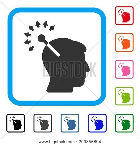 Optical Neural Interface icon. Flat grey pictogram symbol in a light blue rounded frame. Black, gray, green, blue, red, orange color additional versions of Optical Neural Interface vector.