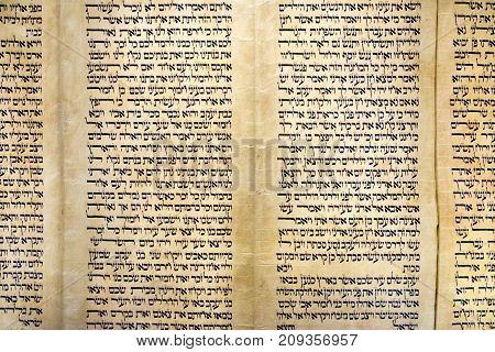JERUSALEM, ISRAEL - OCTOBER 13 2017:  Close-up of Torah scroll presented in Israel Museum