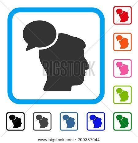 Person Idea icon. Flat grey iconic symbol in a light blue rounded frame. Black, gray, green, blue, red, orange color variants of Person Idea vector. Designed for web and app UI.