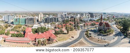 WINDHOEK NAMIBIA - JUNE 17 2017: An aerial panorama of the Christuskirche and part of the central business district of Windhoek the capital city of Namibia