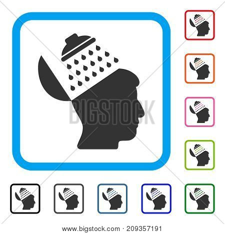 Propaganda Brain Shower icon. Flat gray pictogram symbol in a light blue rounded rectangle. Black, gray, green, blue, red, orange color variants of Propaganda Brain Shower vector.