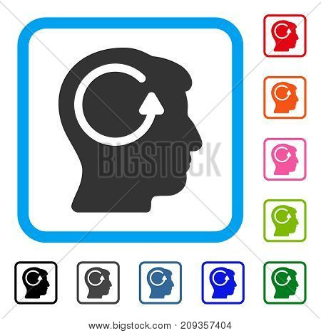 Refresh Head Memory icon. Flat grey iconic symbol inside a light blue rounded square. Black, gray, green, blue, red, orange color versions of Refresh Head Memory vector.