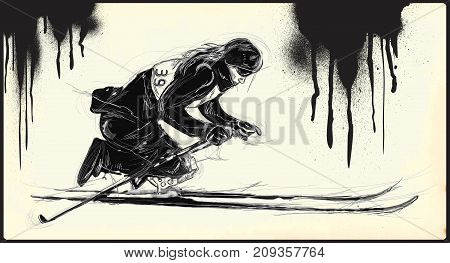 CROSS COUNTRY SKIING. From the series SILENT HEROES - Athletes with physical disabilities. An hand drawn vector.