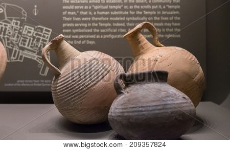 Pots And Pottery Found At Qumran Site. Israel Museum, Jerusalem. Israel.