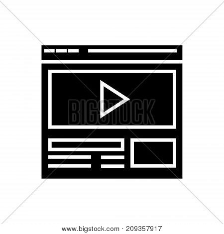 video marketing - online video clip icon, illustration, vector sign on isolated background