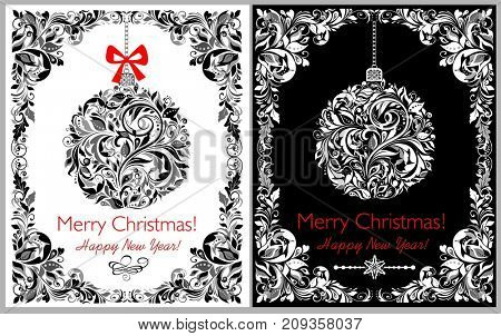 Decorative black and white greeting Christmas card with hanging floral ball and border. Variation