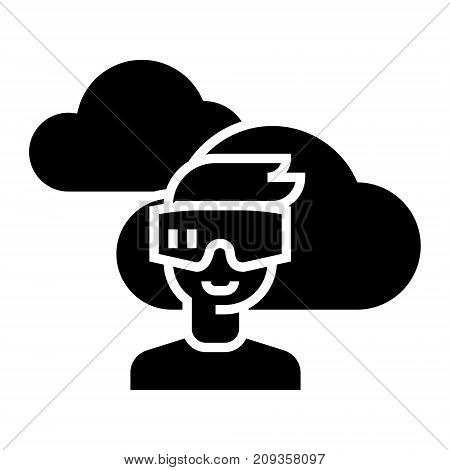 virtual reality glasses headset icon, illustration, vector sign on isolated background
