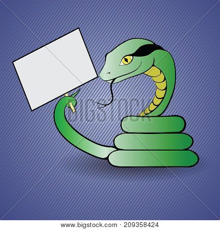 Green Snake is Held by a White Blank Banner Isolated on Blue Background