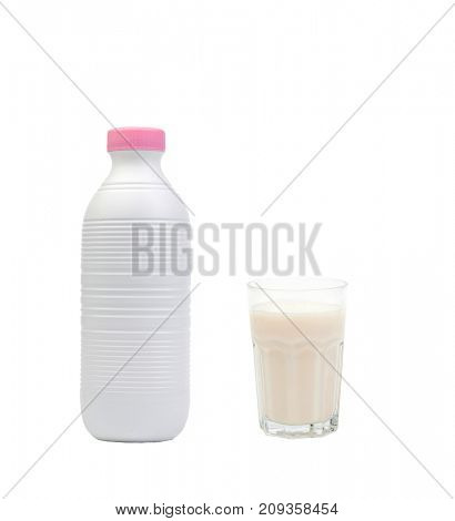 Bottle of milk with a full glass isolated on white background