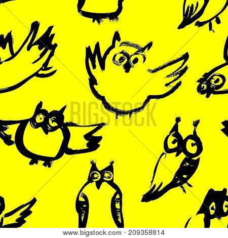 Background with sketchy owls. Seamless pattern with doodle owls. Vector ink illustration with birds in black and yelow colors and children's style