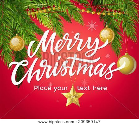 Merry Christmas - modern vector illustration with place for text on red background. White hand drawn brush pen lettering. Pine needle with golden balls. Perfect as card, invitation, banner, flyer