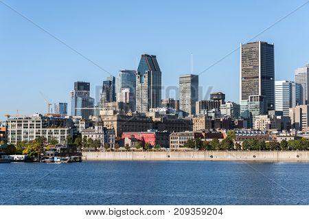 Montreal Canada - 12 October 2017: Montreal Skyline from Parc de la Cité du Havre