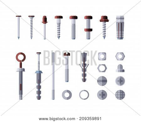 Metal hardware - modern vector isolated illustration on white background. Screws, bolts, nuts and rivets. Collection of metalware, goods and products. Grey and red color
