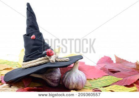 Garlic Banishes The Evil Spirit On The Autumn Leaves