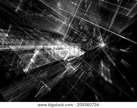 Tech or vr black and white background - abstract computer-generated image. Fractal art: straight lines with perspective and reflection. For web design, covers, posters.
