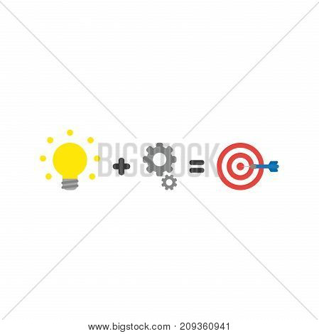 Flat Design Style Vector Concept Of Light Bulb Plus Gears Equals Bulls Eye With Dart In The Center