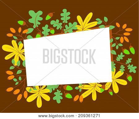 Fall season frame. Autumn border with bright leaves acorns and berries of dogrose. Vector seasonal illustration