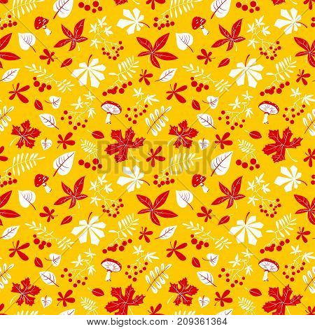 Fall season floral seamless pattern. Autumn background with bright leaves rowan and grape berries amanita mushrooms. Vector illustration for textile seasonal posters and cards