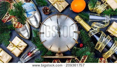 New Year Celebration. Traditional Put Money To Shoe For Have Money En New Year. Flat Lay Composition