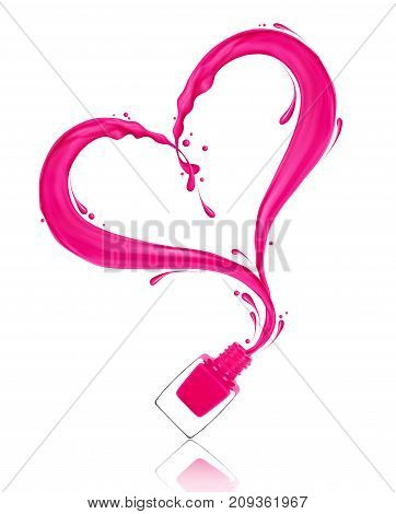 Splash of pink nail polish in the shape of a heart poured from the bottle on white background