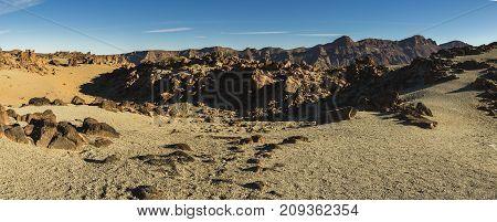 Lava Fields At The Foot Of Teide Volcano, Canary Islands