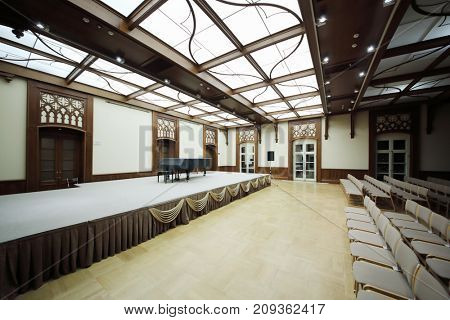 MOSCOW - SEP 16, 2017: Concert hall with grand piano on stage in Big Tsaritsyno Palace