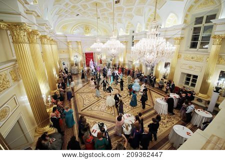 MOSCOW - SEP 16, 2017: (top view) Dancing pairs at Great Catherine Ball (dance party) in Tsaritsyno