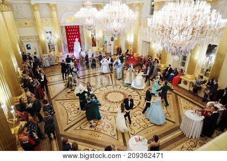 MOSCOW - SEP 16, 2017: Many dancing pairs at Great Catherine Ball (dance party) in Tsaritsyno