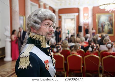 MOSCOW - SEP 16, 2017: Man in wig at Great Catherine Ball (dance party) in Tsaritsyno