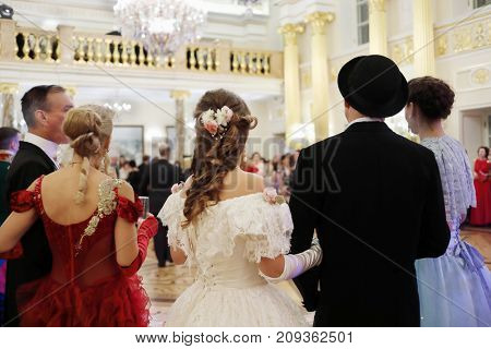 MOSCOW - SEP 16, 2017: Guests at Great Catherine Ball (dance party) in Tsaritsyno