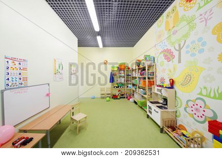 MOSCOW - MAY 24, 2017: (with property release) Playroom in modern Family Club Forest of Wonders created to develop the creative abilities and intelligence of child