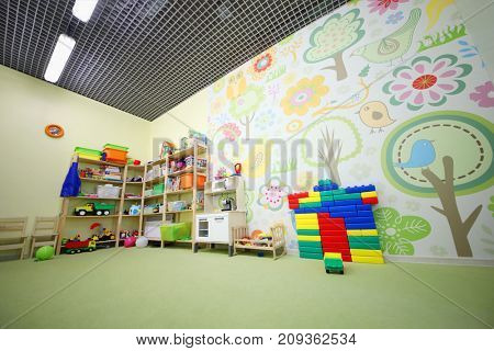 MOSCOW - MAY 24, 2017: (with property release) Playroom in Family Club Forest of Wonders created to develop the creative abilities and intelligence of child