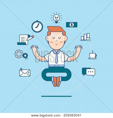 Business man sitting and meditating in lotus pose - effective business management concept.Vector illustration in flat linear style