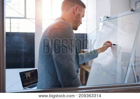Young businessman writing on a whiteboard during an afternoon presentation to colleagues in the meeting room of a modern office