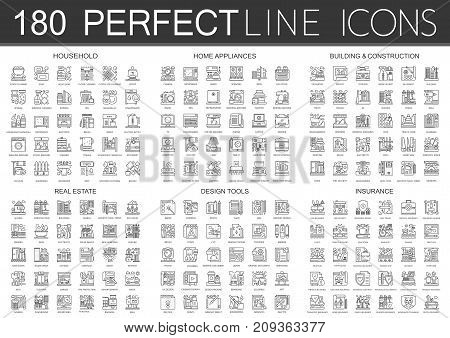 180 outline mini concept infographic symbol icons of household, home appliances, building construction, real estate, design tools, insurance isolated.
