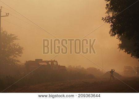 Fire In A Garbage Dump, Smoke And Waste