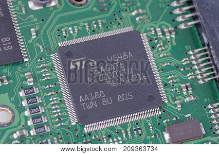 SARANSK, RUSSIA - OCTOBER 06, 2017: Seagate chip on circuit board.