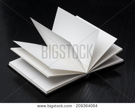 Empty Open book on black wooden background
