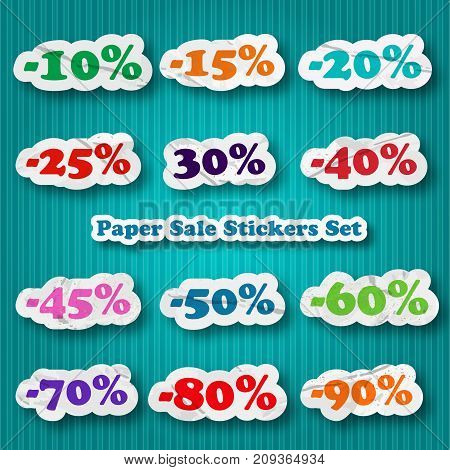 Set of paper sale stickers with different discount percentage from 10 til 90 on blue background flat vector illustration