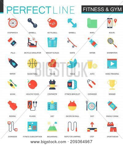 Vector set of flat Sport Fitness icons isolated.
