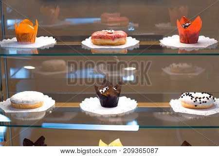 Sweets in the window in a kavel