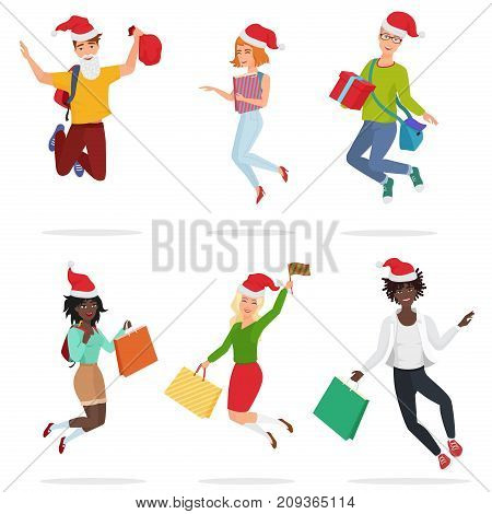 Set of cheerful happy people with gift boxes and Christmas hats