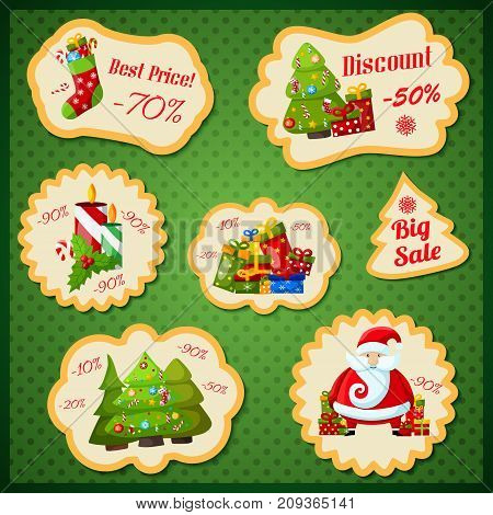 Big sale retro paper stickers with  discount percentage and christmas symbols on green background flat vector illustration