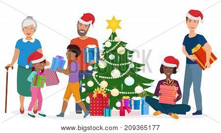 Vector illustration of multiracial family standing and sitting with gift boxes at Christmas tree