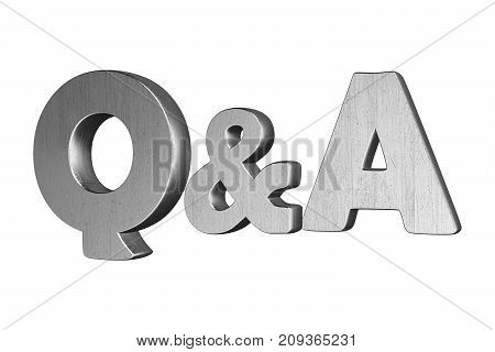 Questions and answers concept silver Q and A text isolated on white. 3D render illustration.